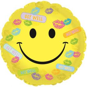 18 inch Get Well Bandaids & Kisses Smiley Circle Foil Mylar Balloon