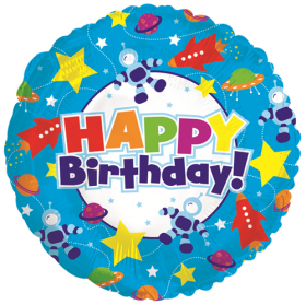 18 inch Foil Mylar Circle Happy Birthday Outer Space Balloon - Flat