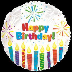 18 inch Foil Mylar Circle Happy Birthday Sparkling Candles Balloon - Flat