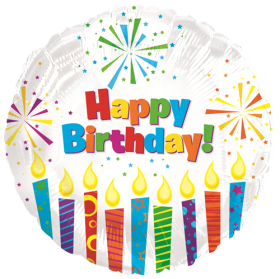 18 inch CTI Happy Birthday Sparkling Candles Foil Balloon - Packaged