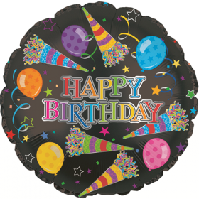 18 inch Foil Mylar Circle Rainbow Happy Birthday Party Horns Balloon - Flat