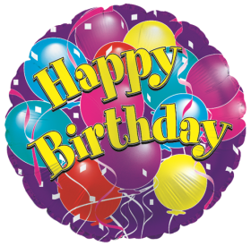 18 inch Foil Mylar Circle Happy Birthday Big Birthday Balloons Balloon - Flat