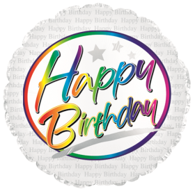 18 inch Foil Mylar Circle Birthday Rainbow Script Balloon - Flat