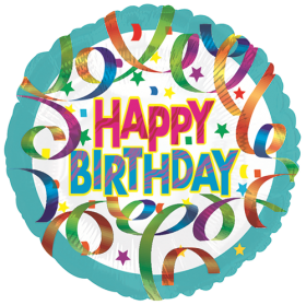 18 inch Foil Mylar Circle Colorful Streamers Birthday Balloon - Flat