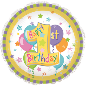 18 inch Foil Mylar Circle Pastel 1st Birthday Balloon - Flat
