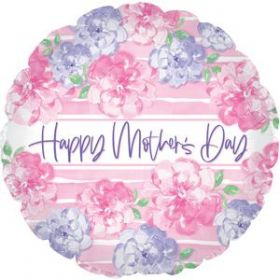 18 inch CTI Happy Mothers Day Pink & Lavender Flowers Foil  Balloon - flat