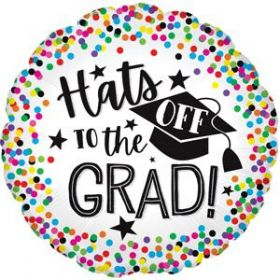 18 inch CTI Hats Off to the Grad Circle Foil Balloon - flat