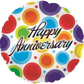 18 inch Foil Mylar Circle Happy Anniversary Dancing Dots Balloon