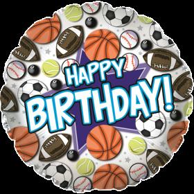 18 inch Foil Mylar Circle Happy Birthday Sports Balloon - Flat