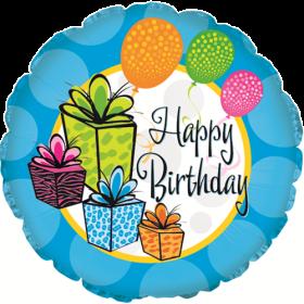 18 inch Foil Mylar Circle Happy Birthday Gifts Balloon - Flat