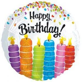 18 inch CTI Happy Birthday Colorful Candles Foil Balloon - Packaged