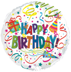 18 inch Foil Mylar Circle Happy Birthday Party Hat and Horn Balloon - Flat