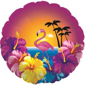 18 inch Hibiscus and Flamingo Foil Mylar Circle Balloon