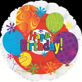 18 inch Foil Mylar Circle Happy Birthday Bright Balloon - Flat
