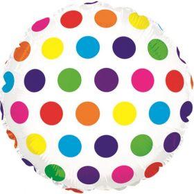 18 inch Rainbow Dots Foil Mylar Circle Balloon
