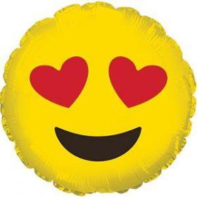 18 inch CTI Heart Eyes Emoticon Foil Mylar Circle Balloon - flat