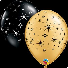 11 inch Qualatex Sparkles & Swirls Gold & Black Latex Balloon - 50 count