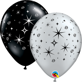 11 inch Qualatex Sparkles & Swirls Silver & Black Latex Balloon - 50 count