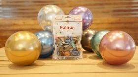 12 inch Kalisan Assorted Color Mirror Chrome Latex Balloons - 50 ct