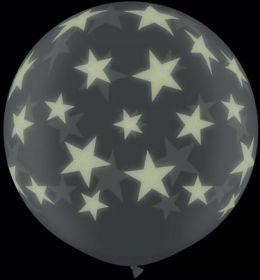 Qualatex Big Glow in the Dark Stars Around 36 inch Diamond Clear Latex Balloons - 2 count