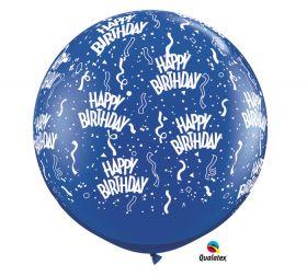 Qualatex Happy Birthday Around Sapphire Blue 36 inch Latex Balloons - 2 count