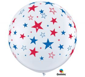 Qualatex Big Red and Blue Stars Around 36 inch White Latex Balloons - 2 count