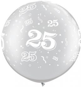 Qualatex Metallic Silver 25th Anniversary 30 inch Latex Balloons - 2 count