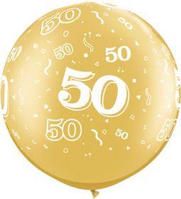 Qualatex Metallic Gold 50th Anniversary 30 inch Latex Balloons - 2 count