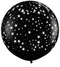 Qualatex Stars Around Onyx Black 36 inch Latex Balloons - 2 count