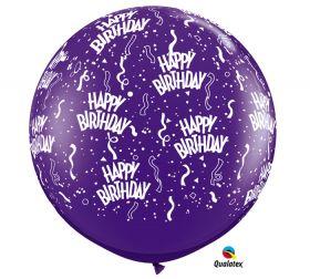 Qualatex Happy Birthday Around Quartz Purple 36 inch Latex Balloons - 2 count