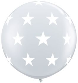 Qualatex Big Stars Around Diamond Clear 36 inch Latex Balloons - 2 count
