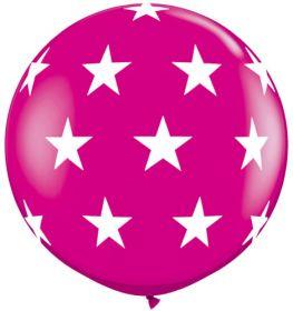 Qualatex Big Stars Around Wild Berry 36 inch Latex Balloons - 2 count