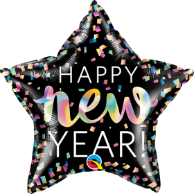 20 inch Qualatex New Year Iridescent Star Foil Balloon - Packaged