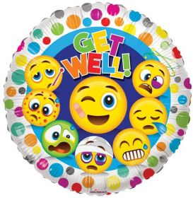 18 inch Get Well Happy Face Foil Mylar Circle Balloon