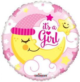 18 inch It's A Girl With Moon Circle Foil Mylar Balloon