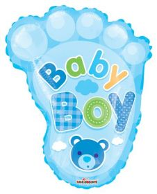 20 inch Baby Boy Footprint Shape Foil Mylar Balloon