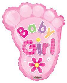 20 inch Baby Girl Footprint Shape Foil Mylar Balloon