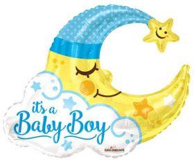 36 inch It's a Baby Boy Man in Moon Shape Foil Mylar Balloon