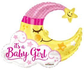 36 inch It's a Baby Girl Man in Moon Shape Foil Mylar Balloon