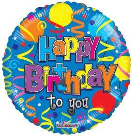 18 inch Foil Mylar Birthday Festive Circle Balloon - Flat