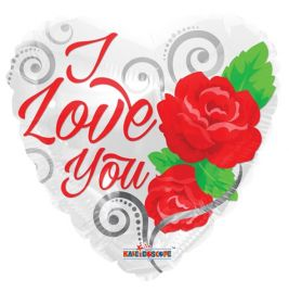 18 inch Kaleidoscope I Love You with Roses Foil Mylar Heart Balloon - flat