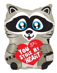 18 inch Kaleidoscope You Stole My Heart Raccoon Shape Foil Balloon - flat