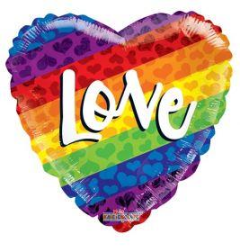 18 inch Kaleidoscope Love Rainbow Gellibean Heart Balloon - flat