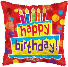 18 inch Foil Mylar Birthday Cakes and Candles Square Balloon - Flat