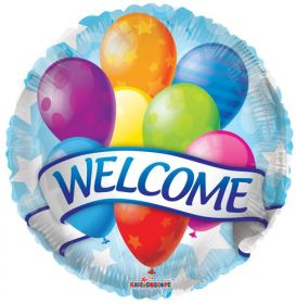 18 inch Welcome with Balloons Foil Mylar Circle Balloon