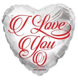 18 inch Kaleidoscope I Love You Red Script White Foil Heart Balloon - flat