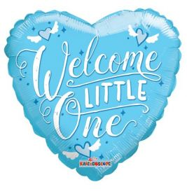 18 inch Welcome Little One Baby Blue Heart Foil Mylar Balloon
