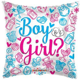 18 inch Boy or Girl Gender Reveal Square Foil Mylar Balloon