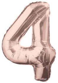 34 inch Kaleidoscope Rose Gold Number 4 Foil Balloon