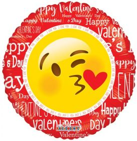 18 inch Kaleidoscope Happy Valentine's Smiley with Kiss Foil Circle Balloon - flat